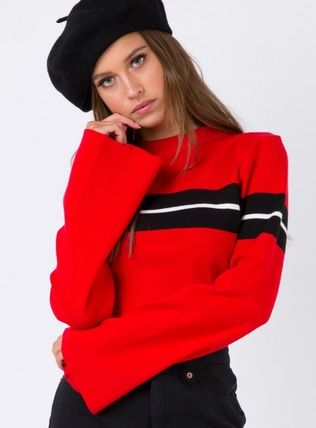 Short Casual Style Rib Puff Sleeves Cropped