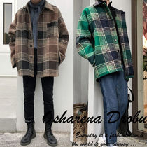 Other Check Patterns Street Style Oversized Coats