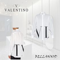 VALENTINO Button-down Long Sleeves Plain Cotton Oversized Shirts
