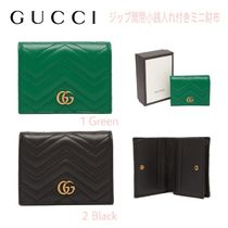 GUCCI GG Marmont Calfskin Blended Fabrics Plain Folding Wallets
