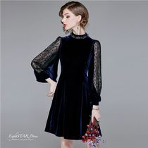 A-line U-Neck Medium With Jewels Dresses