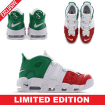 Nike AIR MORE UPTEMPO Street Style Bi-color Leather Sneakers