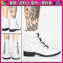 DOLLS KILL Casual Style Faux Fur Studded Plain Ankle & Booties Boots