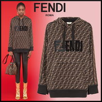 FENDI Monogram Long Sleeves Cotton Medium Hoodies & Sweatshirts