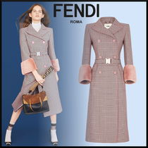 FENDI Wool Blended Fabrics Long Elegant Style Chester Coats