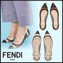 FENDI Monogram Blended Fabrics Leather Elegant Style Slip-On Shoes