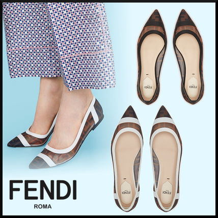 FENDI Pointed Toe Monogram Blended Fabrics Leather Elegant Style Mules Logo