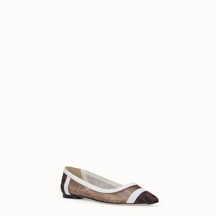 FENDI Pointed Toe Monogram Blended Fabrics Leather Elegant Style Mules Logo 3