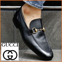 GUCCI Plain Toe Moccasin Unisex Street Style Plain Leather