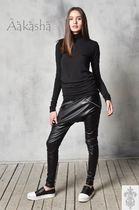 Aakasha Faux Fur Plain Long Handmade Leather & Faux Leather Pants
