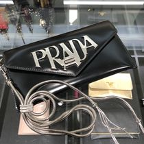 PRADA Chain Plain Leather Party Style With Jewels Clutches