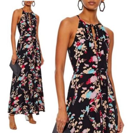 Flower Patterns Silk Sleeveless Flared Long Party Style