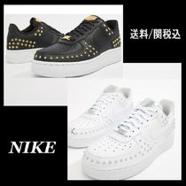 Nike AIR FORCE 1 Lace-up Casual Style Studded Leather Low-Top Sneakers 53b6a0e4e