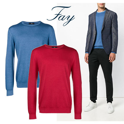 Crew Neck Wool Long Sleeves Plain Knits & Sweaters