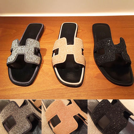 HERMES More Sandals Open Toe Leather Sandals