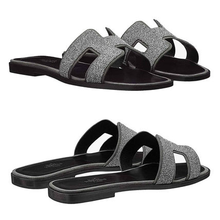 HERMES More Sandals Open Toe Leather Sandals 4