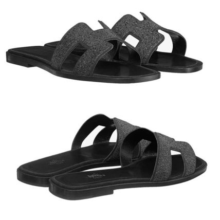 HERMES More Sandals Open Toe Leather Sandals 7