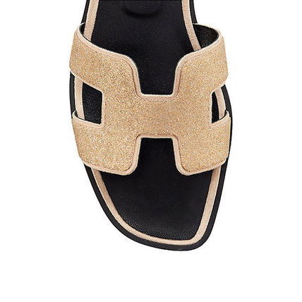 HERMES More Sandals Open Toe Leather Sandals 9