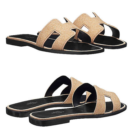HERMES More Sandals Open Toe Leather Sandals 10