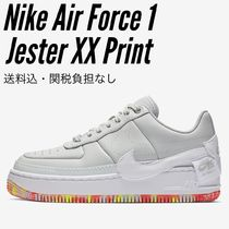 Nike AIR FORCE 1 Flower Patterns Round Toe Rubber Sole Lace-up Casual Style