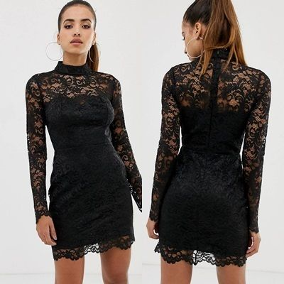 Tight Long Sleeves Medium High-Neck Lace Dresses