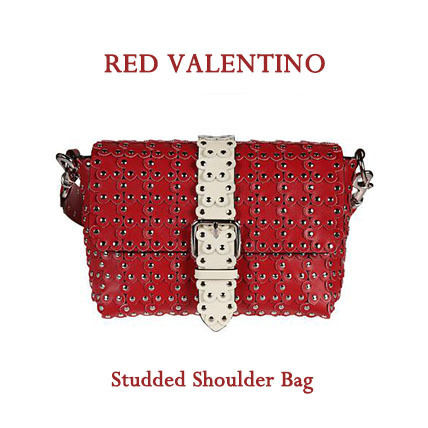 Casual Style Studded Leather Shoulder Bags