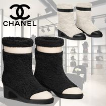 CHANEL Bi-color Leather Block Heels Ankle & Booties Boots