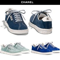 CHANEL Round Toe Casual Style Suede Street Style Plain