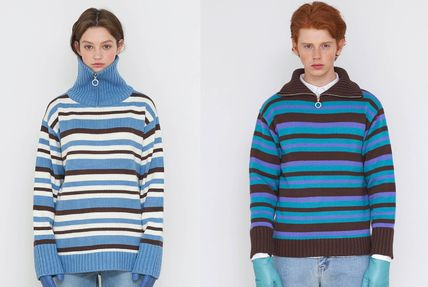 Pullovers Stripes Unisex Street Style Long Sleeves Oversized