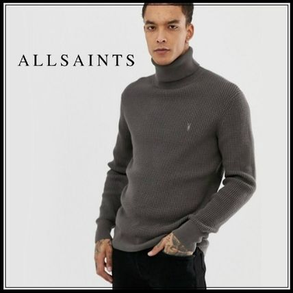 Pullovers Long Sleeves Plain Cotton Knits & Sweaters