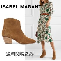 Isabel Marant Suede Plain Elegant Style Chunky Heels Ankle & Booties Boots
