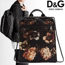 Dolce & Gabbana Flower Patterns Unisex Studded Plain Backpacks