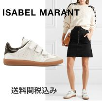 Isabel Marant Round Toe Rubber Sole Casual Style Plain Leather