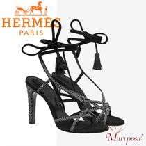 HERMES Open Toe Lace-up Tassel Plain Leather Pin Heels Party Style