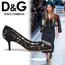 Dolce & Gabbana Plain Pin Heels Elegant Style Pointed Toe Pumps & Mules