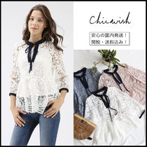Chicwish Flower Patterns Peplum Cropped Plain Medium Lace