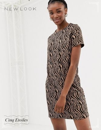 Short Zebra Patterns Casual Style Short Sleeves Dresses
