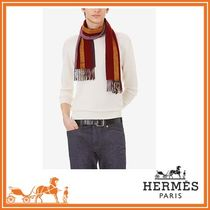 HERMES Stripes Cashmere Plain Fringes Scarves