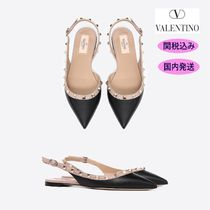 VALENTINO Casual Style Studded Bi-color Plain Leather Block Heels