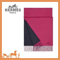 HERMES Cashmere Bi-color Plain Fringes Scarves