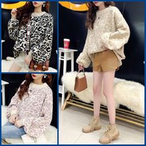 Cable Knit Casual Style U-Neck Medium Oversized Puff Sleeves