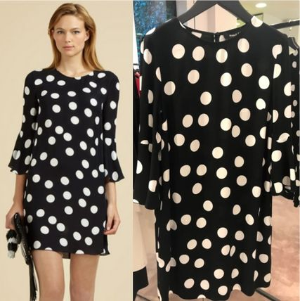 Dots Flared U-Neck Cropped Medium Dresses