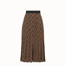 FENDI Monogram Silk Blended Fabrics Pleated Skirts Medium Midi
