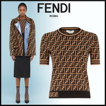 FENDI Crew Neck Short Monogram Rib Short Sleeves Cropped