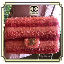 CHANEL Stripes 2WAY Elegant Style Shoulder Bags