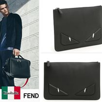 FENDI BAG BUGS Calfskin Studded Bag in Bag Plain Clutches