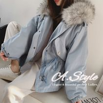 Casual Style Faux Fur Street Style Plain Medium Oversized