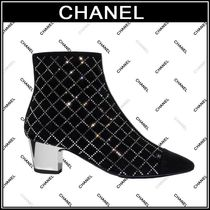 CHANEL Other Check Patterns Plain Toe Suede Block Heels