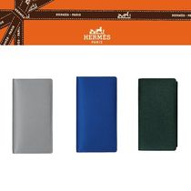 HERMES Plain Leather Long Wallets