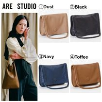 ARE STUDIO Casual Style 2WAY Plain Leather Clutches